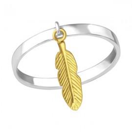 Anillo de plata y plumín bañado en oro