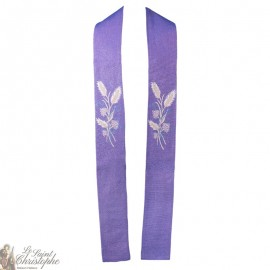 Stole priest embroidered cross in purple goblin