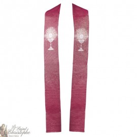 Priest stole embroidered cross in goblin - cream color