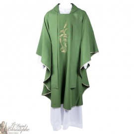 Chasuble with stole for priest embroidered with wheat ears - green