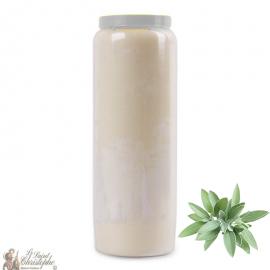 Bougie de neuvaine blanche parfumée à la sauge