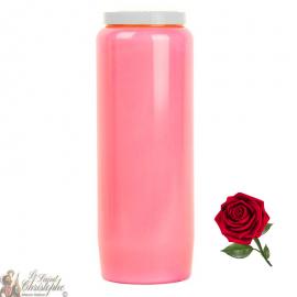 Bougie de neuvaine rose parfumée à la rose