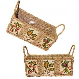 Hyacinth basket with ceramic slabs