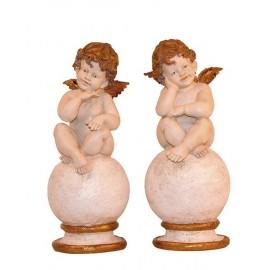 Set di 2 angeli, angeli colorati con doratura