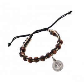 Wood and black leather ten bracelet with St Benedict medal