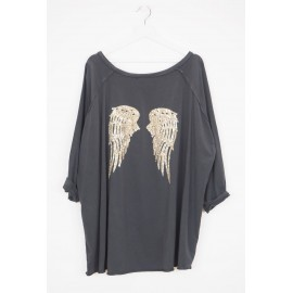 Large tunic with Sequin angel wings