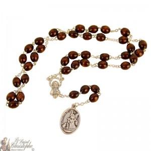 Saint Michael rosary - brown wood beads