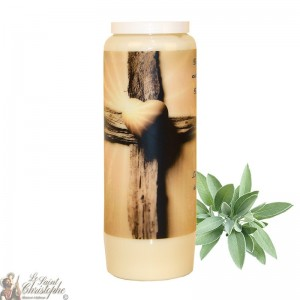 Novena candle for deceased sage scent - Cross