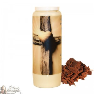 Novena candle for deceased sandalwood scent - Cross