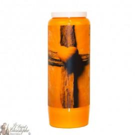 Orangefarbene Novenkerze für die Toten - Kreuz