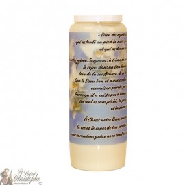 White Novena Candle for the deceased - Flowers