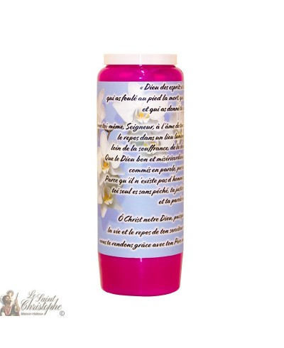 Purple Novena Candle for the Dead - Flowers
