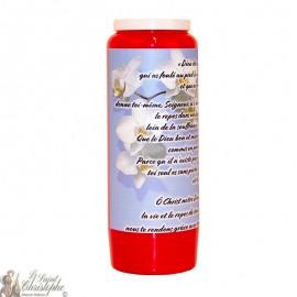 Bougie de neuvaine rouge pour défunt - Fleurs