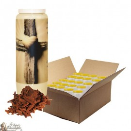 Novena candle for dead sandalwood scent - Cross - box 20 pieces