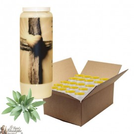 Novena candle for deceased sage scent - Cross - box 20 pieces