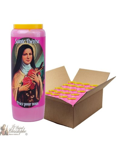 Pink Novena Candle for Saint Thérèse of Lisieux - box 20 pieces