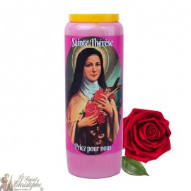 Rose-scented novena candle for Saint Theresa of Lisieux