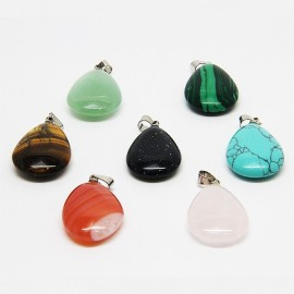 Necklace with 7 health stones, chakras - flat drops