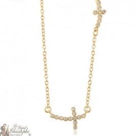 Necklace gold plated crosses with rhinestones