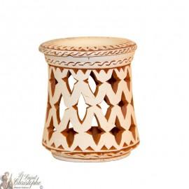 Terracotta candle light oil burner - cross