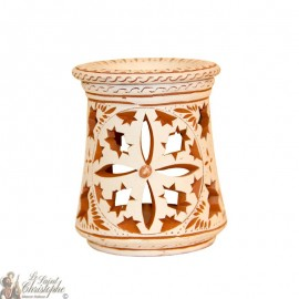 Terracotta photophore oil burner - 3 rosettes