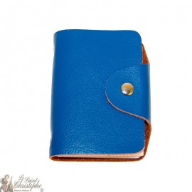 Leather case for cards - blue