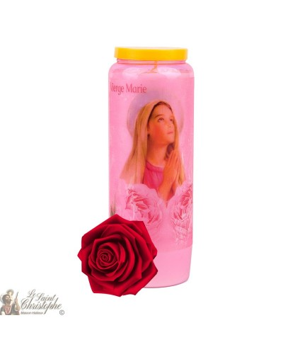 Rose-scented transparent Virgin Mary Novena Candles