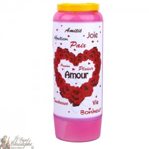 Bougie de neuvaine rose Saint Valentin pour l'amour