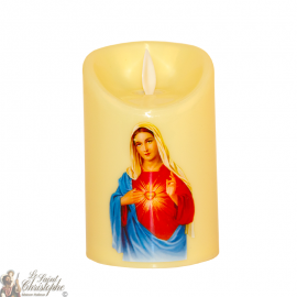 Led candle with flickering flame - sacred heart of Mary
