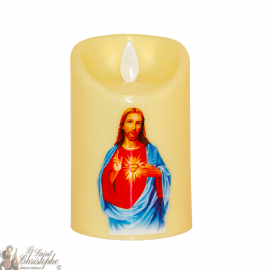 Led candle flickering flame - sacred heart of Jesus