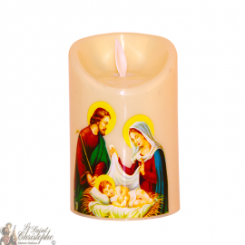 Led candle with flickering flame - the holy family