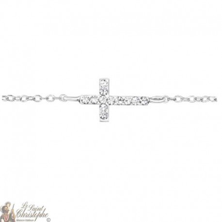 Cross and crystals bracelet in real silver 925