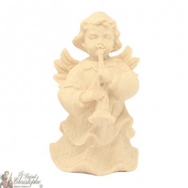 Angel in carved natural wood - clarinet