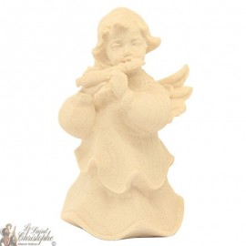 Angel in carved natural wood - flute