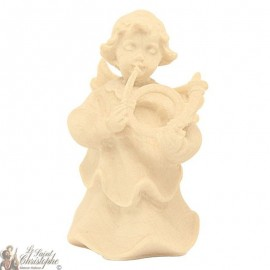 Angel in carved natural wood - horn