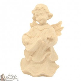 Angel in carved natural wood - mandolin