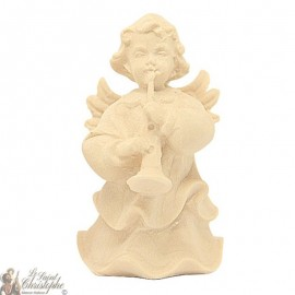 Angel in carved natural wood - clarinet - 6 cm
