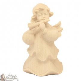 Angel in carved natural wood - flute - 6 cm
