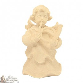 Angel in carved natural wood - horn - 6 cm
