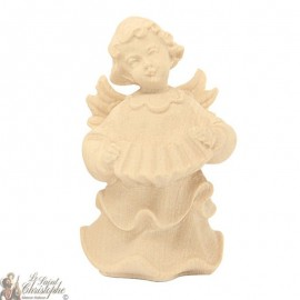 Angel in carved natural wood - accordion - 8 cm