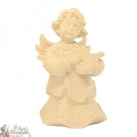 Angel in carved natural wood - lyre - 8 cm
