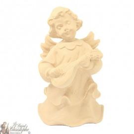 Angel in carved natural wood - mandolin - 8 cm