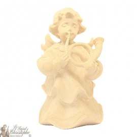 Angel in carved natural wood - horn - 8 cm