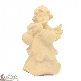 Angel in carved natural wood - flute - 8 cm