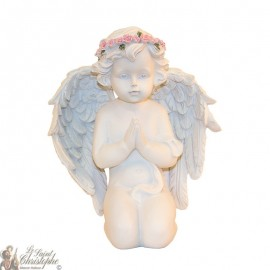 Statue Praying Angel with a wreath of roses - 17 cm