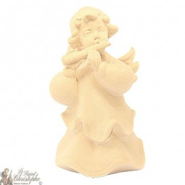 Angel in carved natural wood - flute - 12 cm