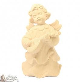 Angel in carved natural wood - mandolin - 12 cm