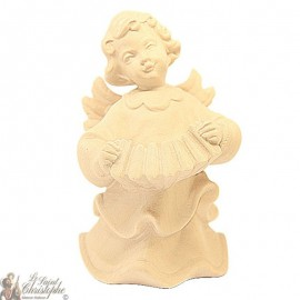 Angel in carved natural wood - accordion - 12 cm