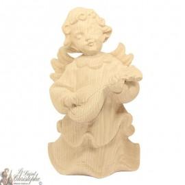 Angel in carved natural wood - mandolin - 16 cm