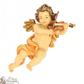 Coloured wooden angel to hang - violin